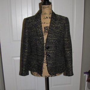 Women's Blazer 10P Black Pattern Tweed